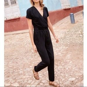 Boden Jersey Surplice Wrap Jumpsuit Short Sleeve